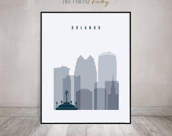 Orlando print, Poster, Wall art, Orlando skyline, Florida cityscape, City poster, Typography art, Home Decor, Digital Print, ArtPrintsVicky