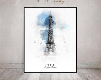 Paris Eiffel Tower Poster Contemporary Art Print   ArtPrintsVicky.com