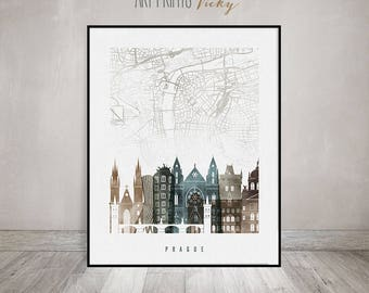 Prague City Map Art Print Skyline | ArtPrintsVicky.com