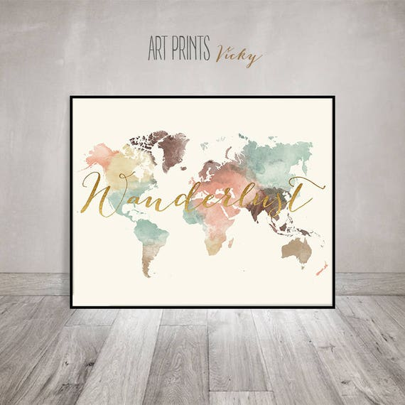 Wanderlust world map pastel watercolor world map poster with like this item gumiabroncs Images