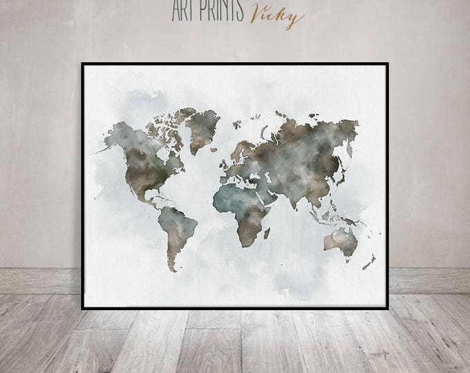 world map art poster | ArtPrintsVicky.com