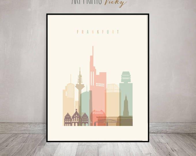 Frankfurt art print, poster, Frankfurt skyline, Wall art, Travel gift, Germany cityscape, wall decor, housewarming gift, ArtPrintsVicky
