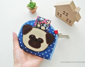 Little Pug Card Holder Wallet, Bi-fold Wallet, Organizer Wallet, Keychain Wallet, Fold Over Wallet, Change Purse, Gift for Her