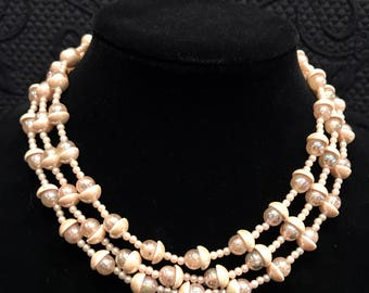 Vintage (1950's) Japan Beaded Multi Strand Faux Pearl Necklace