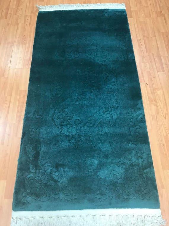 "3'1"" x 6'2"" Chinese Art Deco Oriental Rug - Green - Full Pile - Hand Made - 100% Wool"
