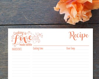 Love Cooking Bridal Recipe Card, Bridal Shower Recipe Gift, Wedding Present for the Bride, Custom Recipe Card 4x6 Printed