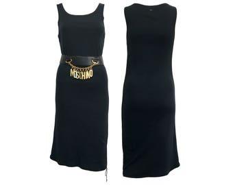 GUCCI Vintage 1990s Black Cotton Day Dress A-line Cotton Tank Basic Casual Piece SZ L