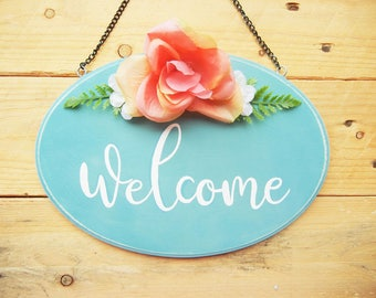 Wood Rose Welcome Sign: Welcome Sign For Front Door, Boho Welcome Sign, Housewarming Gift, Boho Chic Home Decor, Front Door Decor