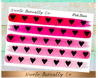 Heart Icons in Pink Paint Stroke Colors- Planner Stickers