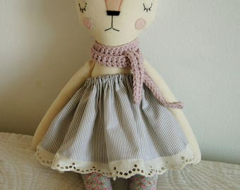 Cat Handmade Doll, stuffed toy, plush cat, stuffed animal, cloth doll, Doll Fabric cat , Linen Dolls,decorative toy, baby gift