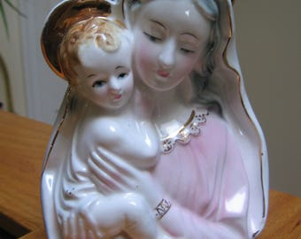 Rare Beautiful Madonna with Child, Ceramic Figurine, Religious Decor, Made in Japan, Christmas/Baptism Gift