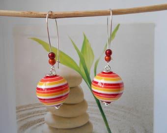 red orange ball bead earrings