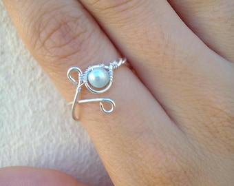 Dainty Pearl Ring, Silver Wrapped Pearl Ring, Pearl Ring, Silver Ring, Wire Wrapped Ring, Silver Plated Ring, Dainty Ring, Tarnish Resistant