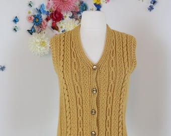 1960s Vest -  Knit Sweater Vest - Waistcoat - Gold Hand-knit - Warm Golden Yellow - Boho Vintage Knit Waistcoat - Size Medium