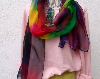 "Shawl ""Color flavors"" hand painted silk chiffon"