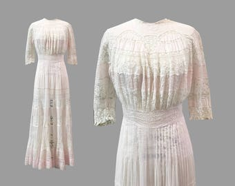 Edwardian Baby Pink and White Hand Tatted Lace Gown Lawn Dress