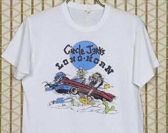 Circle Jerks vintage rare T-shirt, white tee shirt, hardcore punk, punk rock, soft thin Screen Stars, Longhorn