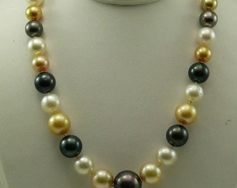 South Sea Multi-color Round Pearl Necklace 14k Yellow Gold Clasp