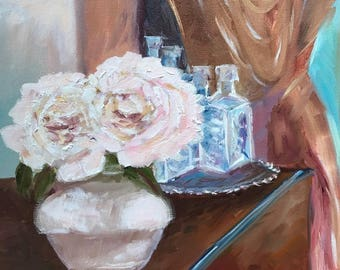 Peonies and Silver Tray