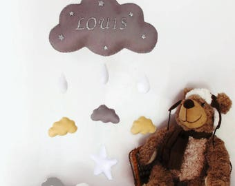 Baby mobile or wall decoration . Cloud mobile for baby's room .
