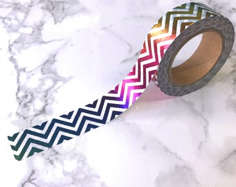 Rainbow Foil Chevron Washi Tape // Decorative Paper Masking Drafter Planner Scrapbooking Tape