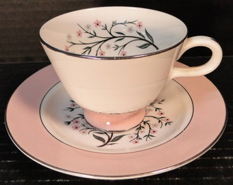 Homer Laughlin Cavalier Springtime Footed Tea Cup Saucer Set CV32 Pink EXCELLENT!