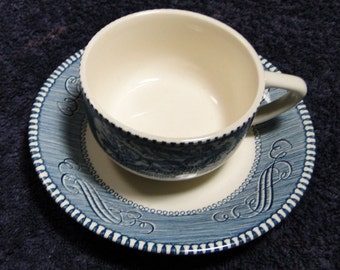 Currier Ives Royal China Blue and White Coffee Tea Cup Saucer Set MINT