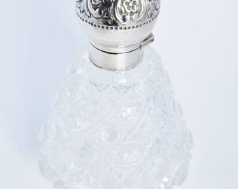 Silver Mounted Cut Glass Perfume Bottle 1889