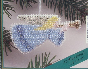 Mill Hill Angel Ornament, Counted Glass Bead Kit, A3 Blue Angel, Christmas, Holiday Ornament