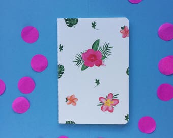 A6 floral lined notebook