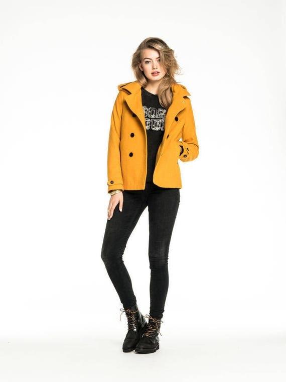 BNWT Maison Scotch 2016 mustard woollen ladies pea jacket Aust size 8