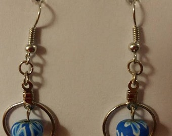 Small Silver Hoop with Blue Flower Femo Bead