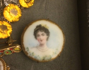 Vintage Victorian Hand Painted Transferware Brooch, Hand Painted Brooch, Victorian Hand Painted Porcelain Pin, Gift for Her