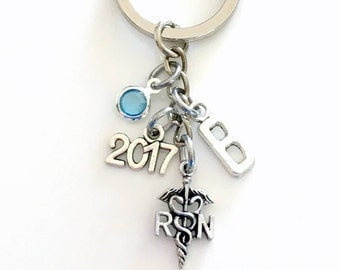 RN Keychain, 2017 or 2018 Nursing Key Chain, Purse Planner Charm, Personalized Gift for Nurse Medical Keyring with initial birthstone custom