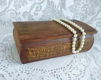 OOAK Wooden Jewelry box / Gold Damask Pattern / Wedding Keepsake / Genuine Wood Jewelry Box / Treasury Box / Trinket box / Brown Jewelry box