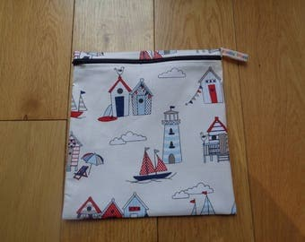 Sandwich bag - Eco - Snack - Bikini Bag - Lunch Bag - Make Up - Beauty Bag - Large Poppins Waterproof Lined Zip Pouch  BeachHouse LightHouse