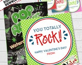 You Rock Valentine, Pop Rocks Valentine Cards, Music Valentines, Kids Valentine Cards, You Totally Rock Valentine's Day Cards | PRINTABLE