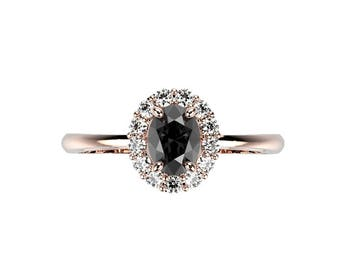 Black Diamond Engagement Ring Black Diamond Ring Rose Gold Black Diamond Engagement Ring Genuine Black Diamond Rose Gold Ring