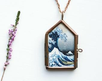 great wave off kanagawa necklace kanagawa pendant nautical jewelry nautical pendant blue pendant personalized pendant blue necklace ocean