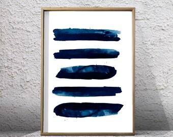 Blue Abstract Watercolor Print Indigo Navy Wall Art Stripes Minimalist Art Digital Download Printable Poster Geometric Art Minimal Lines