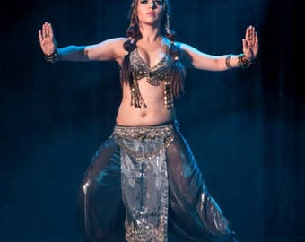 "Tribal fusion belly dance costiume, Gray dance costume, Boho dance costume, Costume ""Ancient Goddess"""