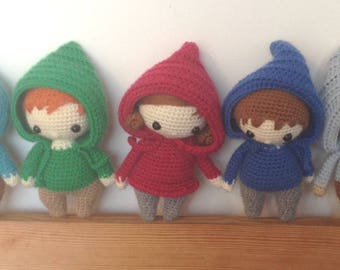 "Set of 5 mini dolls ""touptitmecs"" hoodie for Doll House 14 cm"