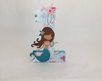 Mermaid number, mermaid birthday, mermaid centerpiece, mermaid party, first birthday, mermaid letters, blue mermaid