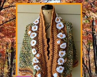 Festival Shawl, Bohemian Shawl, Lace Wrap, Crochet Shawl, Knit Shawl, Boho Shawl, Freeform Crochet, Festival Wrap, Wearable Art, Hippie Wrap