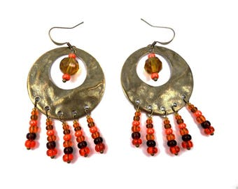 Earrings Bohemian brass hammered orange yellow brown glass beads