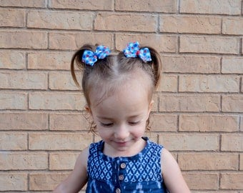 4th Of July Hair Bows - Polka Dot Hair Bows - Patriotic Hair Bow - Pigtail Bows July 4th - 4th Of July Hair Clips - Hair Bow July 4th