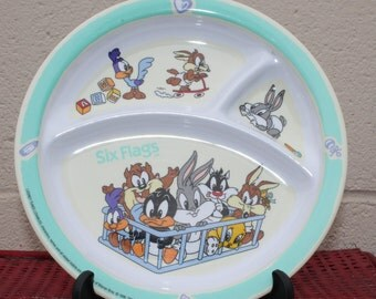 Vintage Six Flags Baby Looney Tunes Childs Plate Baby Dish