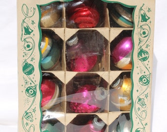 Vintage Shiny Brite Christmas Tree Ornaments Striped Bells Grape Cluster Swirl