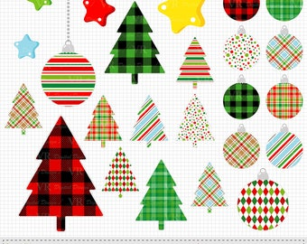 Christmas Trees Ornaments Clipart, Christmas Digital Vector Download Clip Art, Christmas Tree Ornament Graphics, Scrapbooking Clipart