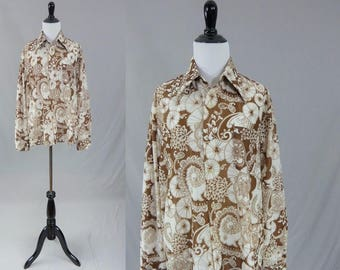 "70s Brown Print Shirt - Bold Flowers Flourishes - Long Sleeve - Mr Cellini Knitwear - Vintage 1970s Men's Top - 46"" chest"